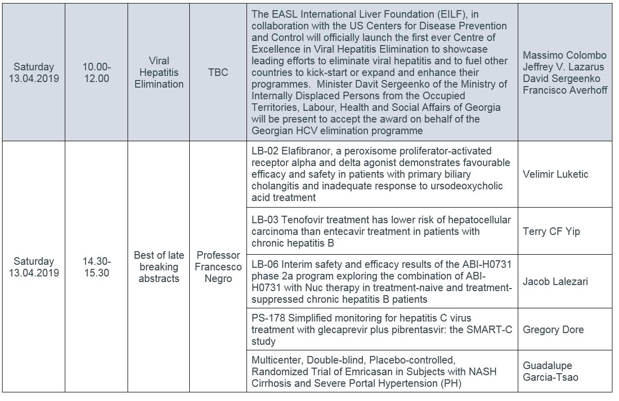 ILC 2019 PRESS CONFERENCE SCHEDULE-SAT-SUN